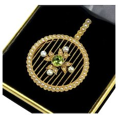 Antique Edwardian 15K Gold Pearl Peridot Pendant C. 1890 – 1910