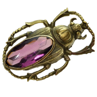 Antique Arts & Crafts Brass Amethyst Glass Bug Beetle Insect Brooch Pin