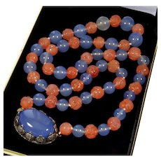 Art Deco Chinese Sterling Blue Agate Chalcedony Carved Carnelian Bead Necklace