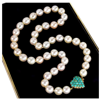 Vintage 50's Pearl Necklace 14K Gold Turquoise Pave Heart Clasp