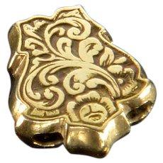 Antique Victorian 10K Gold Engraved Slide Charm For Bracelet