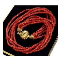 Vintage 50's Italian Mediterranean Tomato Red Coral Necklace 18K Gold Clasp