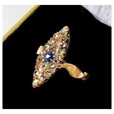 Antique Late Geоrgian 14K Gold 18 Rose Cut Diamonds Blue Sapphire Ring