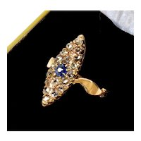 Antique Late Geоrgian 14K Gold 18 Rose Cut Diamonds Blue Sapphire Ring