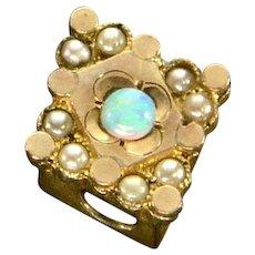 Antique Victorian 10K Rose Gold Opal & Pearls Slide Charm For Bracelet