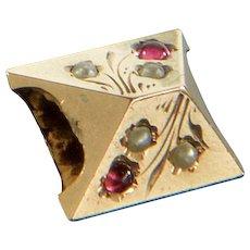 Antique Victorian 10K Rose Gold Rubies & Pearls Slide Charm For Bracelet