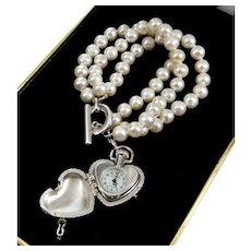 Burberry Sterling Heart Locket Charm Swiss Watch Real Pearl Bracelet