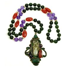 Signed Vega Maddux Pendant Necklace Enamel Chinese Carved Mutton Fat Jade Amethyst Agate Nephrite