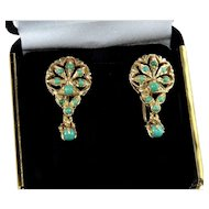 Vintage 14K Gold Natural Turquoise Earrings