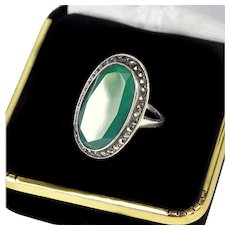 Antique Art Deco German Chrysoprase Marcasite Sterling Ring Signed