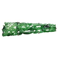 Chinese Qing Dynasty Carved Jadeite Jade Sterling Brooch Pin C.1900's