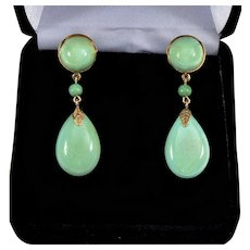 Antique Victorian Natural Turquoise 14K Rose Gold Dangle Earrings