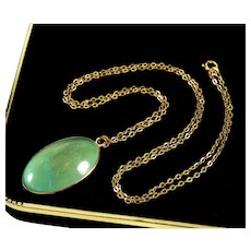 Antique Victorian Natural Turquoise 14K Rose Gold Pendant 18K Gold Chain Necklace