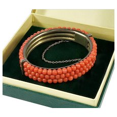 Antique Victorian Undyed Salmon Coral Silver Hinged Bangle Bracelet