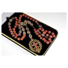 Antique Victorian Coral Gold Cross Rosary Necklace