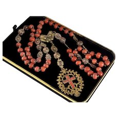 Antique Victorian Coral Gold Cross Rosaries Necklace