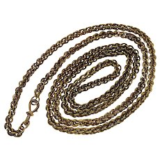 Antique Georgian Sophisticated Hand Wrought Brass Guard Chain Necklace