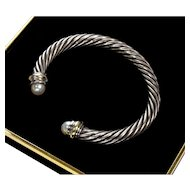 Classic David Yurman 14K Gold Sterling Pearls 7mm Cable Bracelet C. 1980's