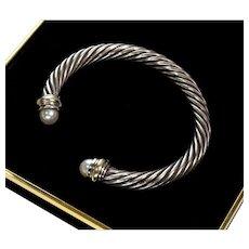 Classic David Yurman 14K Gold Sterling Pearls 7mm Cable Bracelet C. 1980's