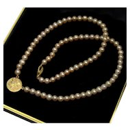 Signed Pepi 14K Gold Ancient Greek Coin Pearl Necklace