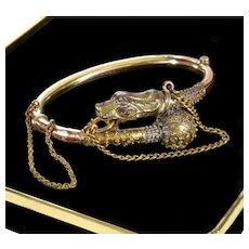 Antique Victorian Etruscan Revival 14K Gold Lion Head Bracelet