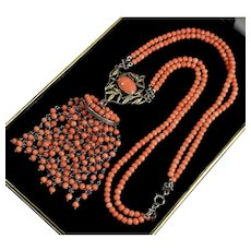 Art Deco Salmon Coral Gold Sterling Tassel Pendant Necklace