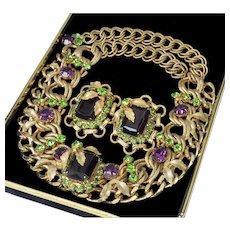 Elsa Schiaparelli Amethyst Peridot Glass Necklace Earrings Set