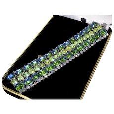 Kramer Dichroic Blue Green Peridot Glass Bracelet