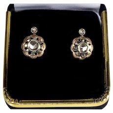 Antique Victorian 14K Rose Gold Diamonds Lever Back Earrings