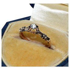 Antique Victorian 9K Rose Gold Solitaire Diamond Ring