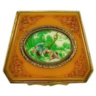 Antique Victorian Hand Painted Carved Celluloid Cosmetic Compact