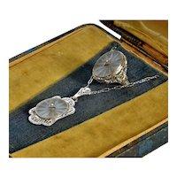Art Deco Diamond 14K White Gold Filigree Carved Quartz Necklace Ring Set In Original Box
