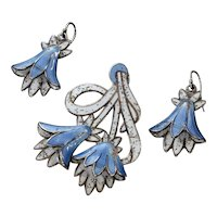 Margot de Taxco Champleve Enamel Sterling Bluebell Earrings Pendant Set C. 1950's