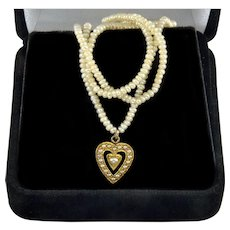 Antique Victorian 18K Yellow Gold Seed Pearls Heart Pendant Necklace