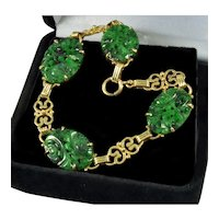 Art Deco Chinese Carved Jadeite Jade 14K Yellow Gold Link Bracelet
