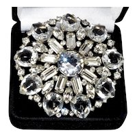 Schrager Signed Crystal Large Brooch Pin