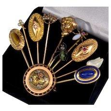 Antique Victorian 14K Stick Pin Bouquet Brooch Diamond Chrysoberil Lapis Ruby Etc.