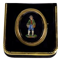 Antique Victorian Grand Tour 14K Gold Italian Micro-Mosaic Brooch