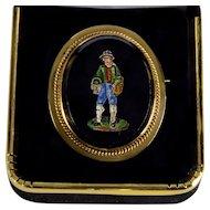 Antique Victorian Grand Tour 14K Gold Italian Micro-Mosaic Brooch