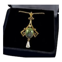 Antique Art Nouveau 14K Gold Turquoise Pearl Pendant Necklace Signed L&A Link and Angel