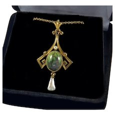 Antique Arts And Crafts Signed L&A Link and Angell 14K Gold Green Mojave Turquoise Pearl Pendant Necklace