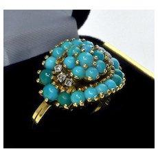 Vintage 18K Yellow Gold Diamonds Turquoise Ring Size 6
