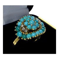 Vintage 18K Yellow Gold Diamonds Turquoise Ring Size 6