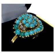 Vintage 18K Yellow Gold Diamonds Persian Turquoise Ring Size 6