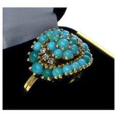 Vintage 18K Yellow Gold Diamonds Persian Turquoise Ring Size 6