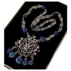 Antique Art Deco Peruzzi Italian Sterling Sodalite Renaissance Revival Satyr Angels Necklace