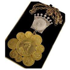 Hattie Carnegie Napoleonic Coins Statement Necklace Signed