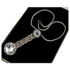 Antique Victorian Faceted Rock Crystal Faux Pearl Fob Necklace
