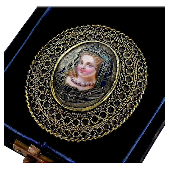 Victorian French Champleve Enamel Royal Portrait Filigree Gold Over Silver Brooch Pin