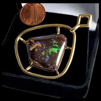 Large Boulder Opal 14K Pendant Signed FFF